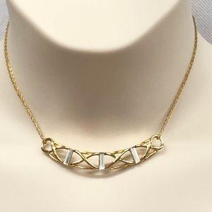 Monet gold tone and rhinestone necklace